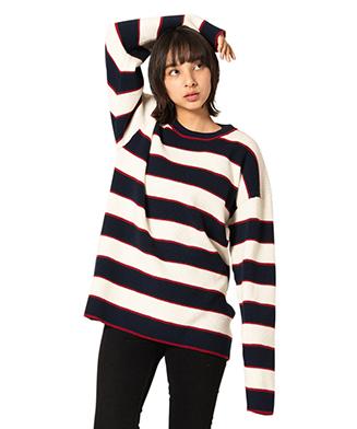 GB0120 / KNT08 : Oversize waffle border knit
