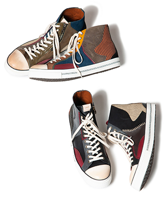 GB0220 / AC03 : Patchworked leather sneakers